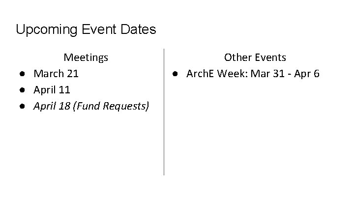 Upcoming Event Dates Meetings ● March 21 ● April 18 (Fund Requests) Other Events