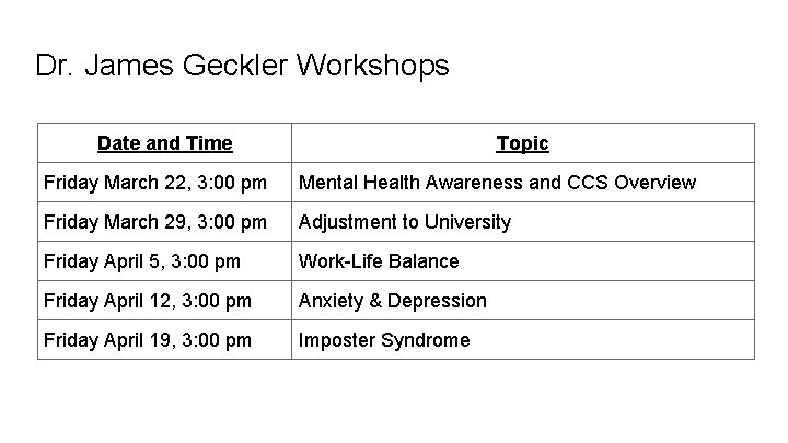 Dr. James Geckler Workshops Date and Time Topic Friday March 22, 3: 00 pm