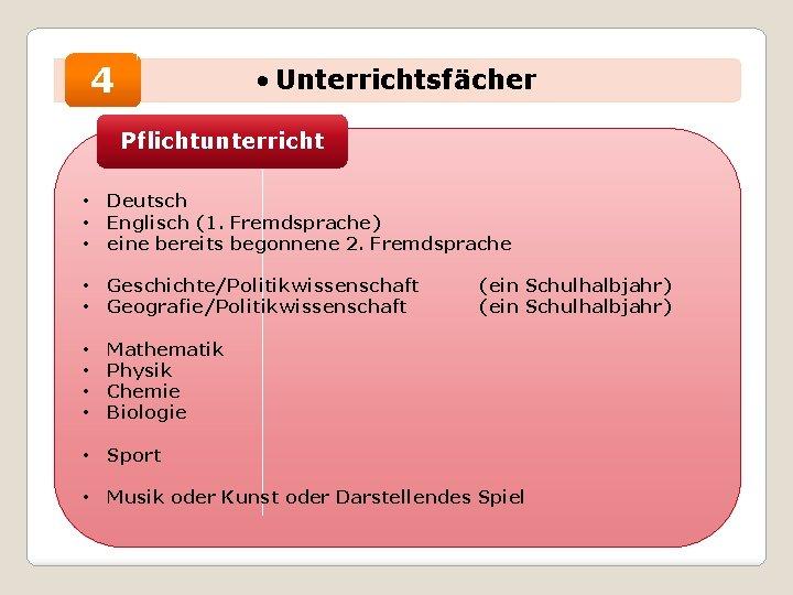 4 • Unterrichtsfächer Pflichtunterricht • • • Deutsch Englisch (1. Fremdsprache) eine bereits begonnene