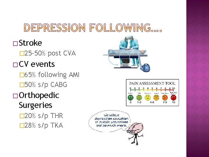 � Stroke � 25 -50% � CV post CVA events � 65% following AMI
