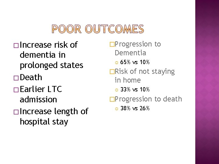 � Increase risk of dementia in prolonged states � Death � Earlier LTC admission