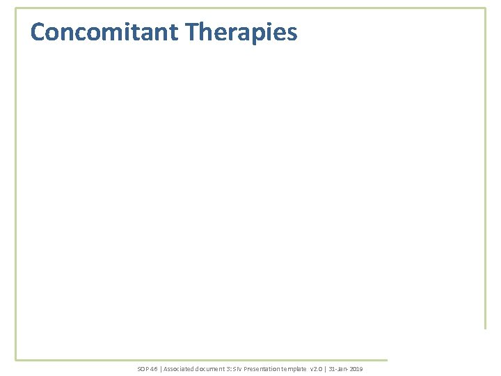 Concomitant Therapies SOP 46 | Associated document 3: SIV Presentation template v 2. 0