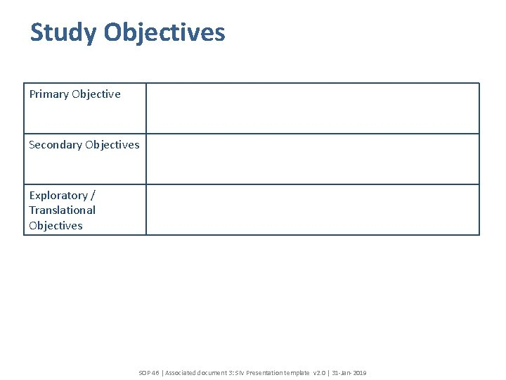 Study Objectives Primary Objective Secondary Objectives Exploratory / Translational Objectives SOP 46 | Associated
