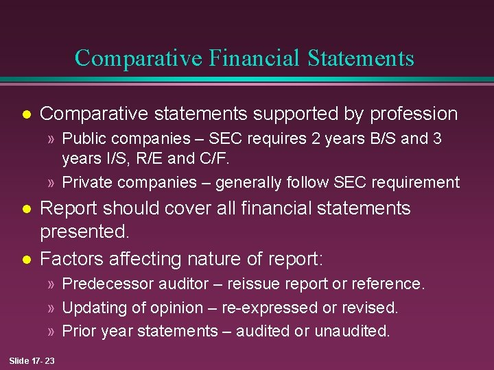 Report example audit reissued Events after