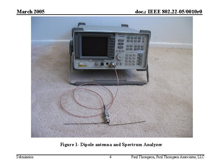 March 2005 doc. : IEEE 802. 22 -05/0010 r 0 Figure 1 - Dipole