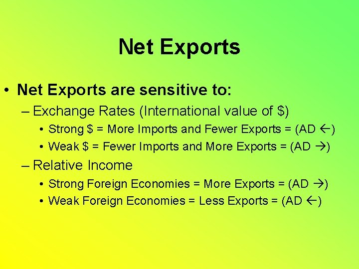 Net Exports • Net Exports are sensitive to: – Exchange Rates (International value of