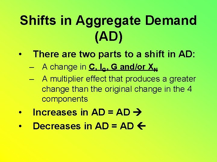 Shifts in Aggregate Demand (AD) • There are two parts to a shift in