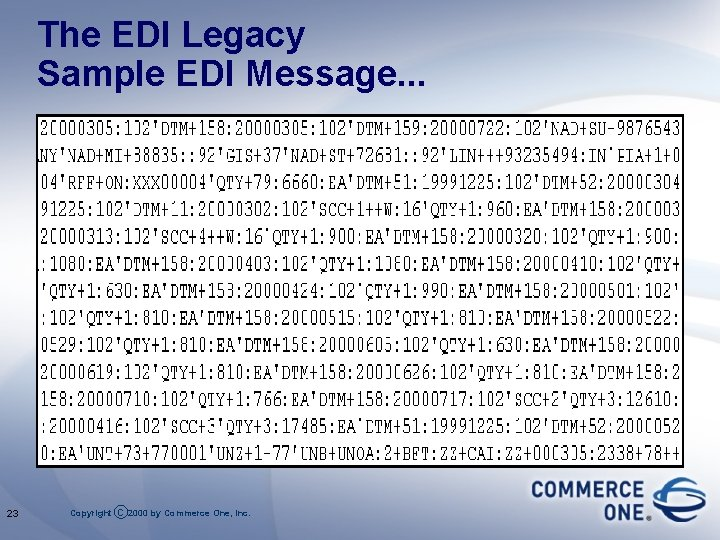 The EDI Legacy Sample EDI Message. . . 23 Copyright c 2000 by Commerce