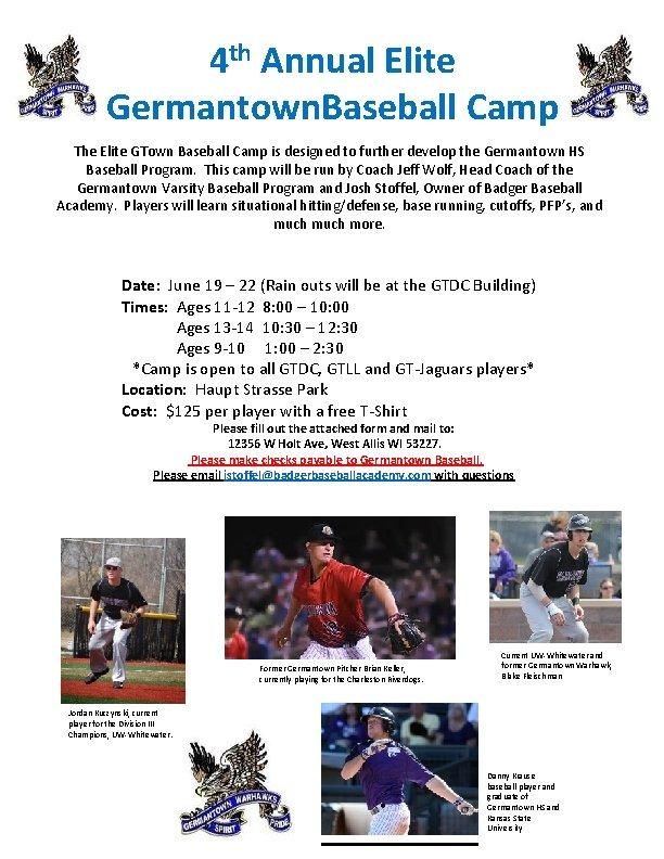 4 th Annual Elite Germantown. Baseball Camp The Elite GTown Baseball Camp is designed