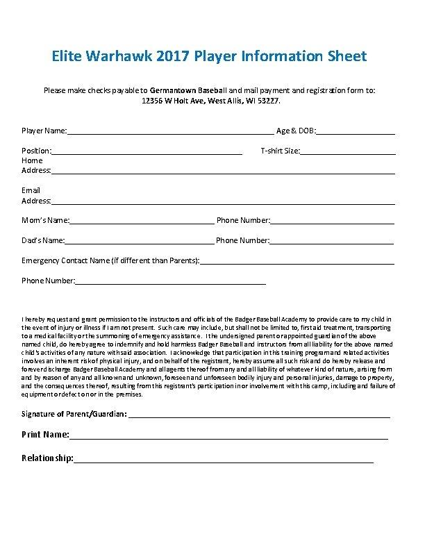 Elite Warhawk 2017 Player Information Sheet Please make checks payable to Germantown Baseball and