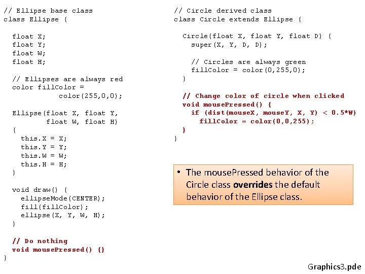 // Ellipse base class Ellipse { float // Circle derived class Circle extends Ellipse
