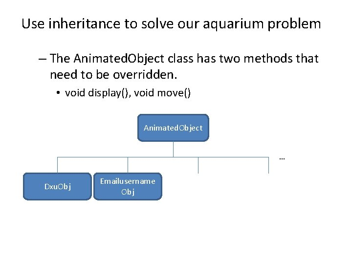 Use inheritance to solve our aquarium problem – The Animated. Object class has two