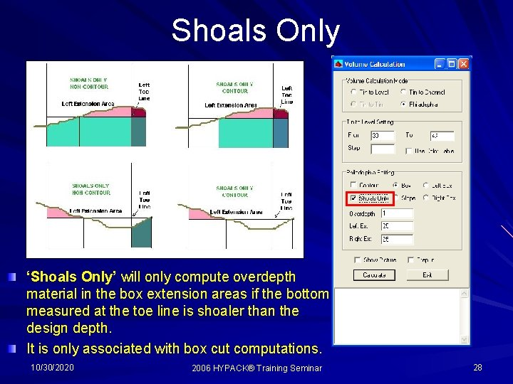 Shoals Only 'Shoals Only' will only compute overdepth material in the box extension areas