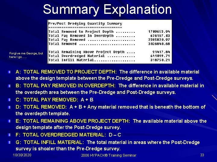 Summary Explanation Forgive me George, but here I go…. . A: TOTAL REMOVED TO