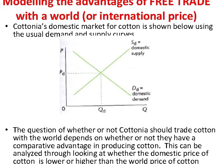 Modelling the advantages of FREE TRADE with a world (or international price) • Cottonia's