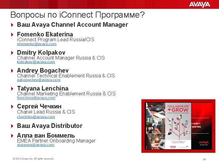 Вопросы по i. Connect Программе? 4 Ваш Avaya Channel Account Manager 4 Fomenko Ekaterina