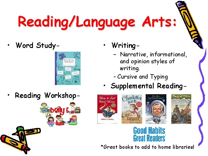 Reading/Language Arts: • Word Study- • Reading Workshop- • Writing– Narrative, informational, and opinion