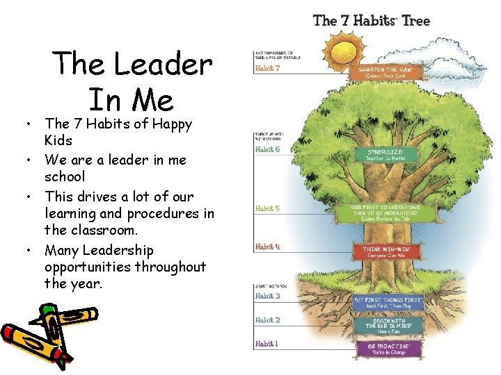 The Leader In Me • The 7 Habits of Happy Kids • We are