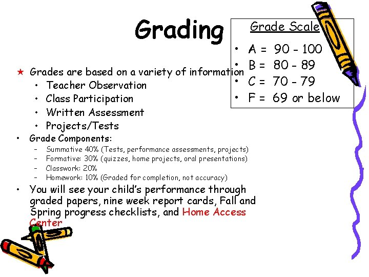 Grading • • « Grades are based on a variety of information • •