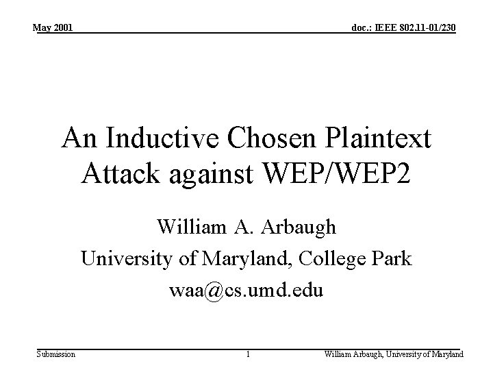 May 2001 doc. : IEEE 802. 11 -01/230 An Inductive Chosen Plaintext Attack against