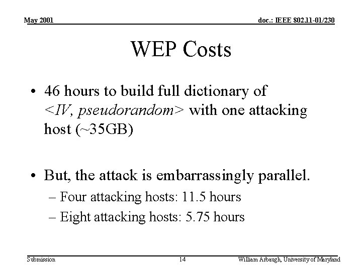 May 2001 doc. : IEEE 802. 11 -01/230 WEP Costs • 46 hours to