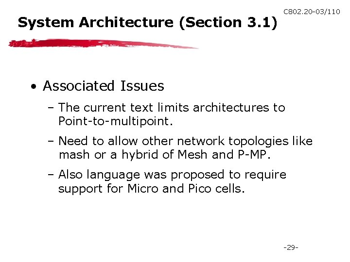 System Architecture (Section 3. 1) C 802. 20 -03/110 • Associated Issues – The