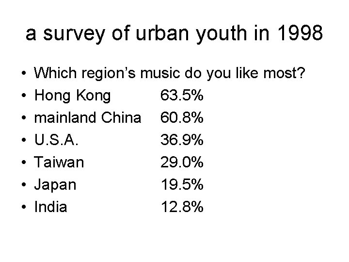 a survey of urban youth in 1998 • • Which region's music do you