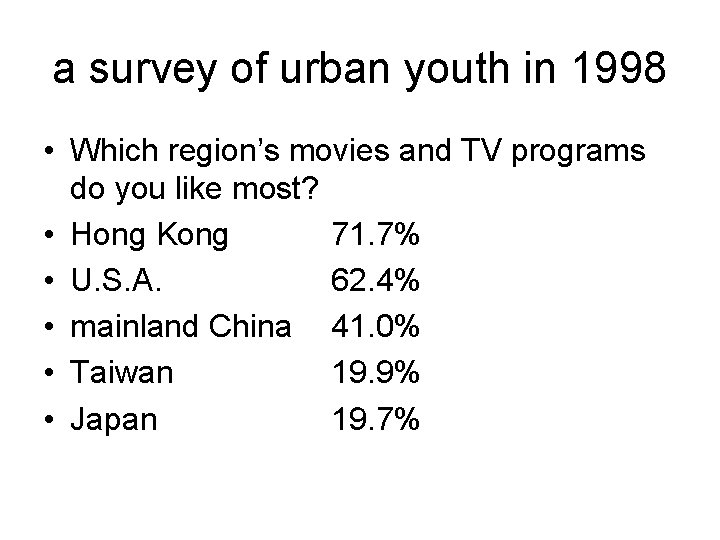a survey of urban youth in 1998 • Which region's movies and TV programs