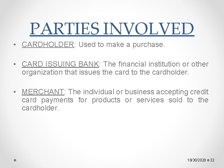 PARTIES INVOLVED • CARDHOLDER: Used to make a purchase. • CARD ISSUING BANK: The