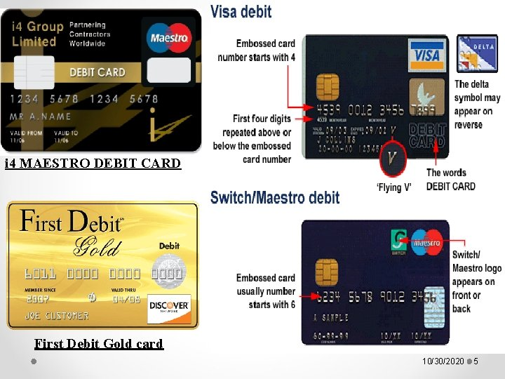 i 4 MAESTRO DEBIT CARD First Debit Gold card 10/30/2020 5
