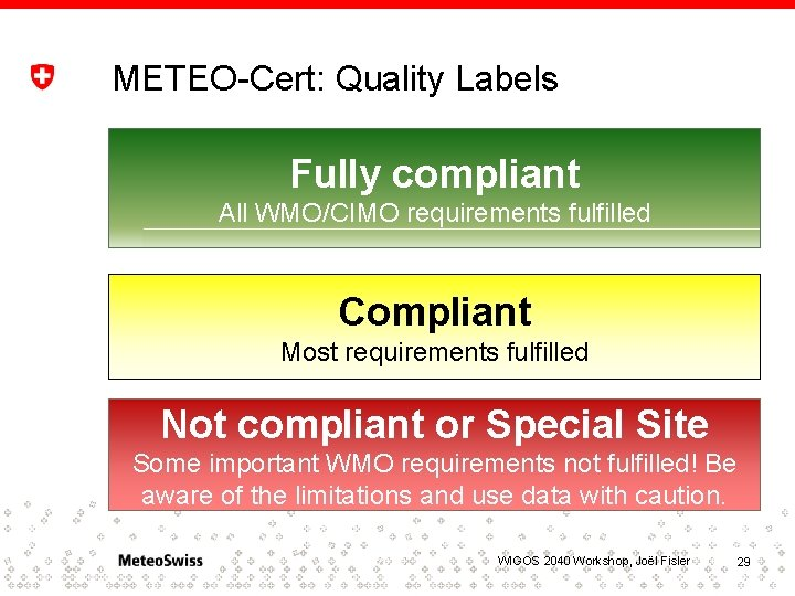 METEO-Cert: Quality Labels Fully compliant All WMO/CIMO requirements fulfilled Compliant Most requirements fulfilled Not