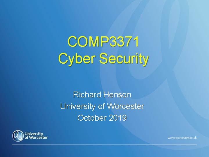 COMP 3371 Cyber Security Richard Henson University of Worcester October 2019