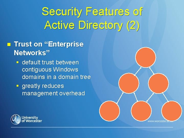"Security Features of Active Directory (2) n Trust on ""Enterprise Networks"" § default trust"