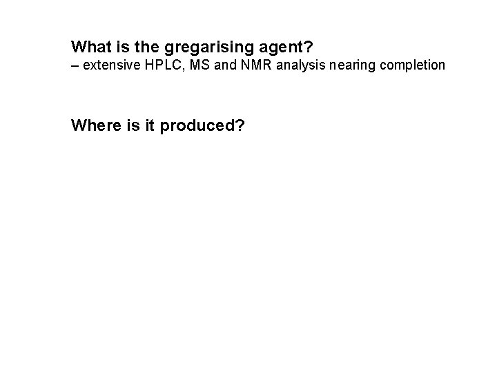 What is the gregarising agent? – extensive HPLC, MS and NMR analysis nearing completion