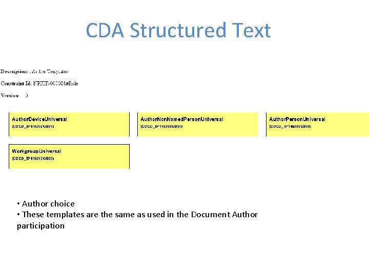 CDA Structured Text • Author choice • These templates are the same as used