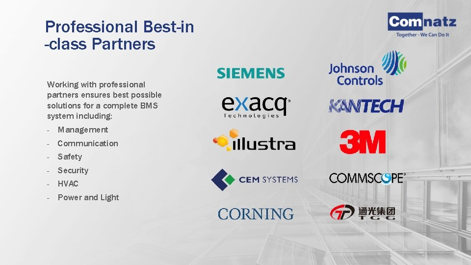 Professional Best-in -class Partners Working with professional partners ensures best possible solutions for a