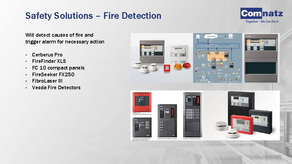 Safety Solutions – Fire Detection Will detect causes of fire and trigger alarm for
