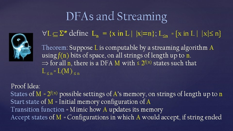 DFAs and Streaming Theorem: Suppose L is computable by a streaming algorithm A using