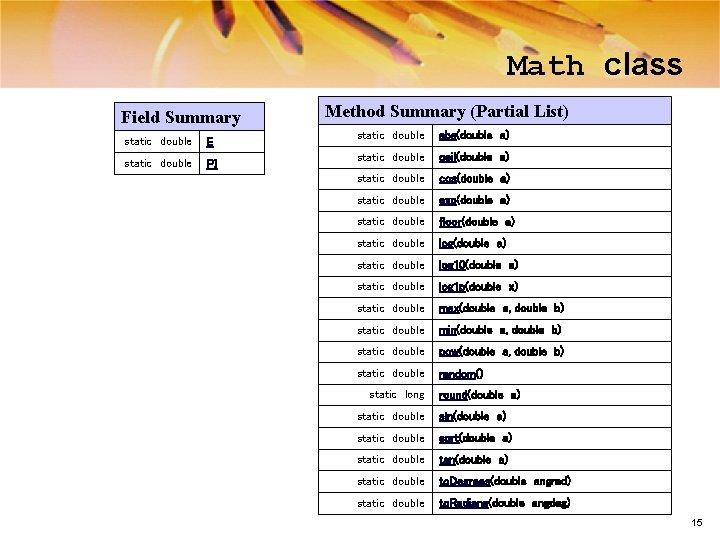 Math class Field Summary static double E static double PI Method Summary (Partial List)