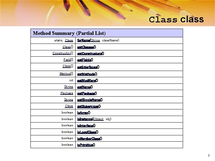 Class class Method Summary (Partial List) static Class[] Constructor[] Field[] Class[] for. Name(String class.