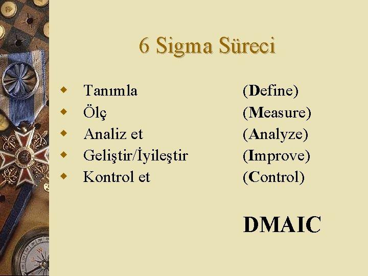 6 Sigma Süreci w w w Tanımla Ölç Analiz et Geliştir/İyileştir Kontrol et (Define)