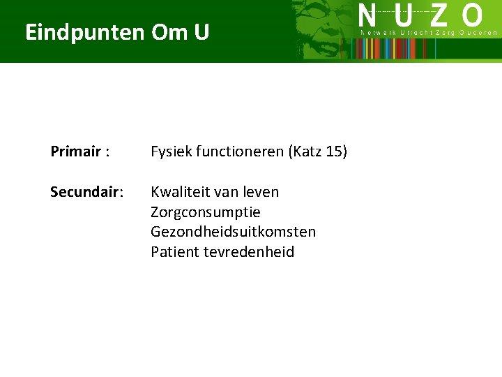 Eindpunten Om U Primair : Secundair: Fysiek functioneren (Katz 15) Kwaliteit van leven Zorgconsumptie