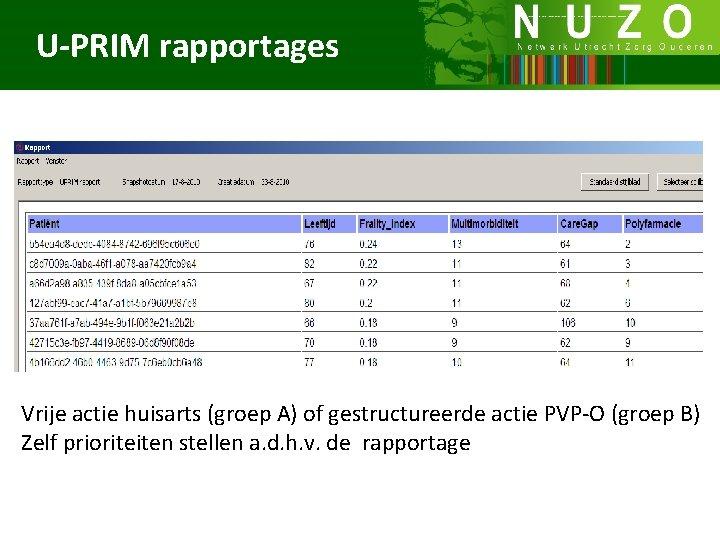 U-PRIM rapportages Vrije actie huisarts (groep A) of gestructureerde actie PVP-O (groep B) Zelf