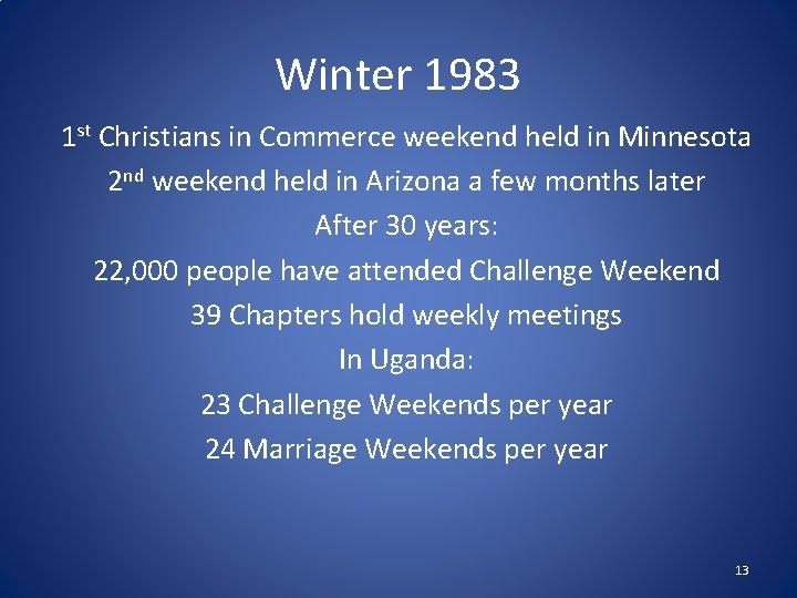 Winter 1983 1 st Christians in Commerce weekend held in Minnesota 2 nd weekend
