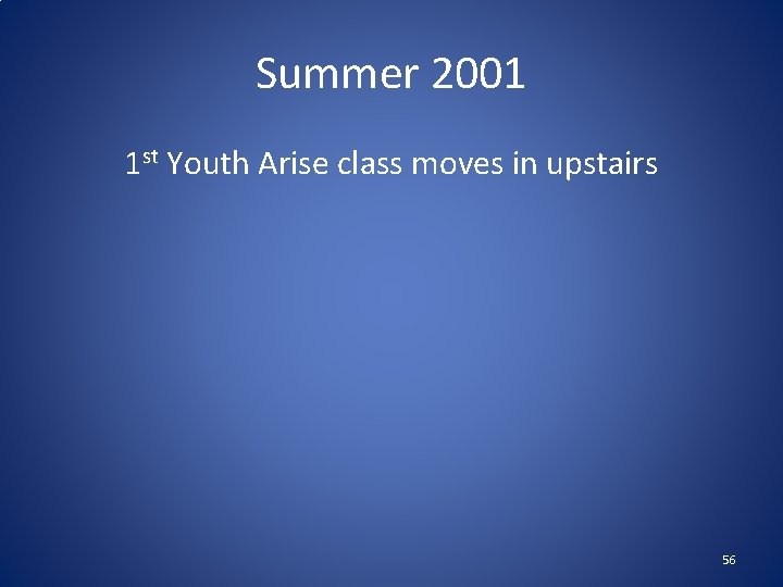 Summer 2001 1 st Youth Arise class moves in upstairs 56