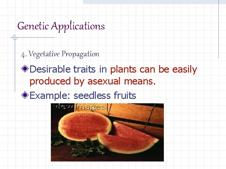 Genetic Applications 4. Vegetative Propagation Desirable traits in plants can be easily produced by