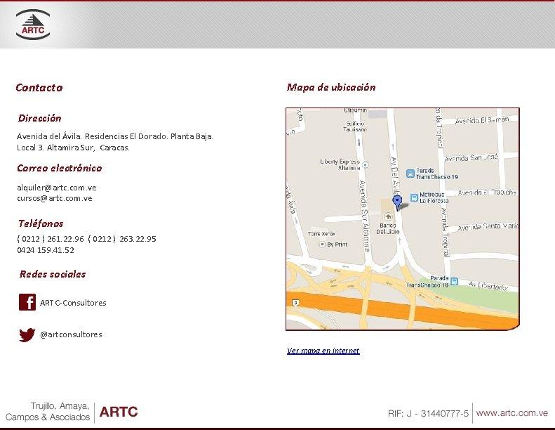 Contacto Mapa de ubicación Dirección Avenida del Ávila. Residencias El Dorado. Planta Baja. Local