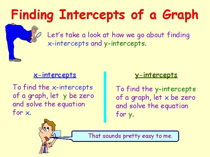 Finding Intercepts of a Graph Let's take a look at how we go about