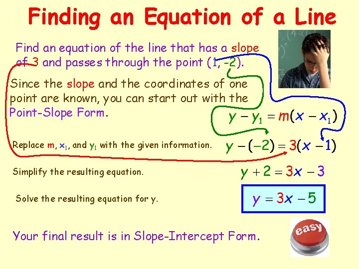 Finding an Equation of a Line Find an equation of the line that has