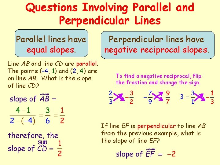 Questions Involving Parallel and Perpendicular Lines Parallel lines have equal slopes. Line AB and